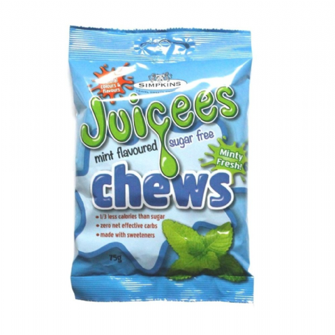 Peppermint - Juicees No Added Sugar Free Chews Sweets Simpkins 75g